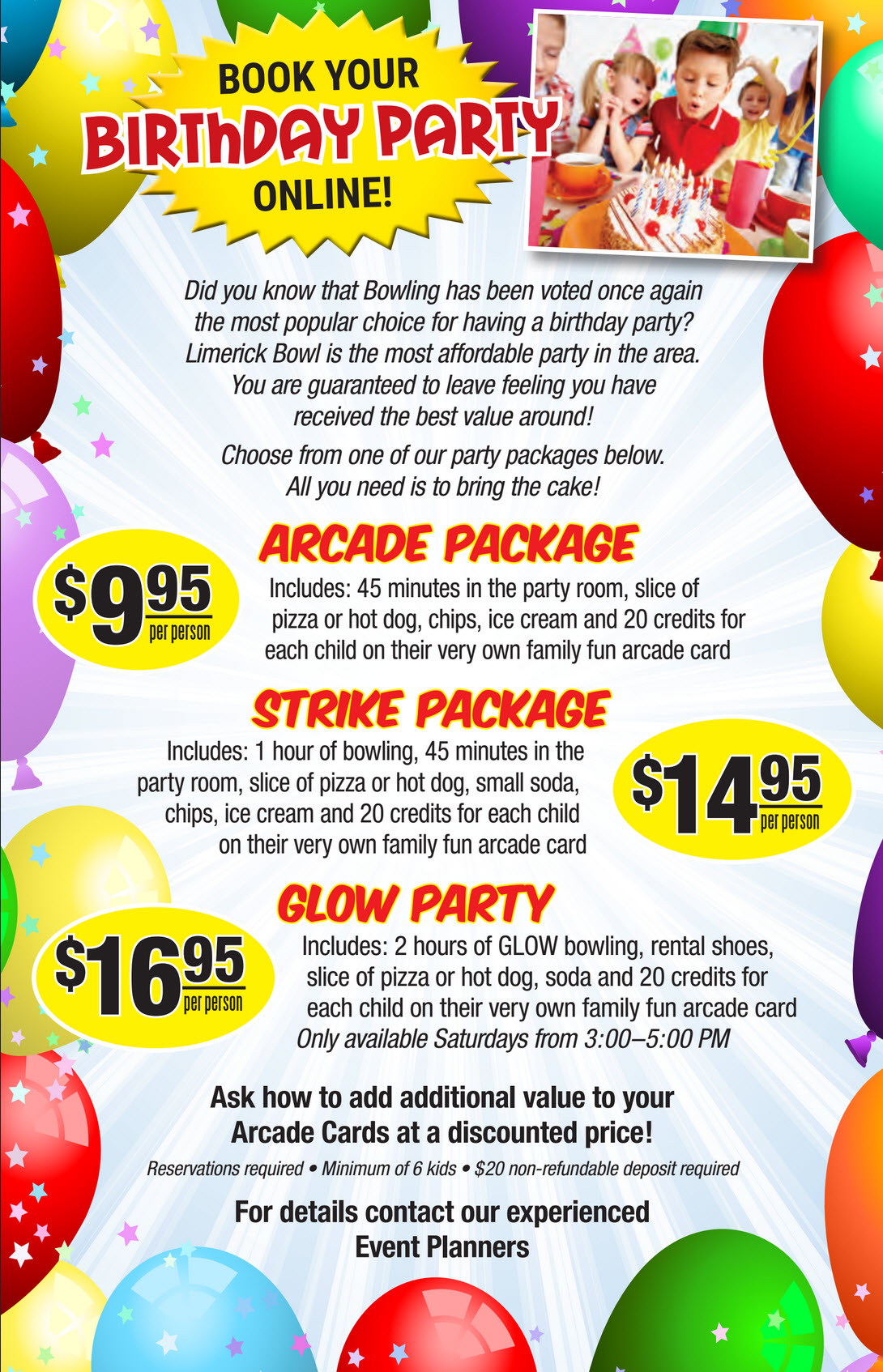 Limerick Bowl Birthday Parties for ALL Ages – Arcade Party Invitations